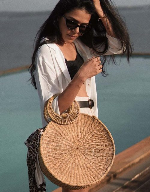 Round cane bag